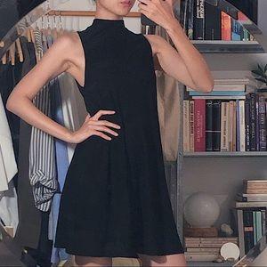 Black Mock Neck Sleeveless Mini/Short Dress